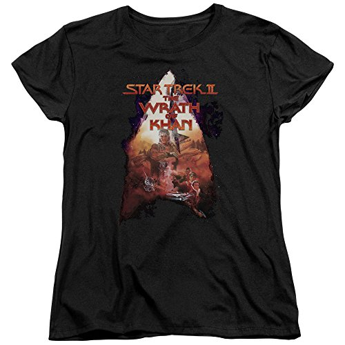 Trevco Star Trek-Twok Poster - Short Sleeve Womens Tee - Black, (Twok Star)