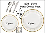 500-piece Party Combo Pack, Premium Plastic Bone w/GOLD Buffet Plates and Silver Cutlery w/Signature Party Picks - SERVES 100
