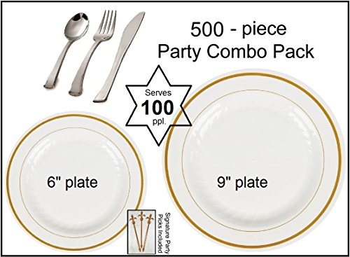 500-piece Party Combo Pack, Premium Plastic Bone w/GOLD Buffet Plates and Silver Cutlery w/Signature Party Picks - SERVES 100 by Happy Hour Supplies