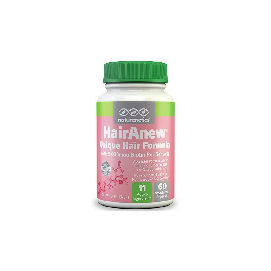 HairAnew (Unique Hair Growth Vitamins with Biotin) Tested for Hair, Skin & Nails Women & Men Addresses Vitamin Deficiencies That Could Be The Cause of Hair Loss/Lack of Regrowth (1 Bottle)