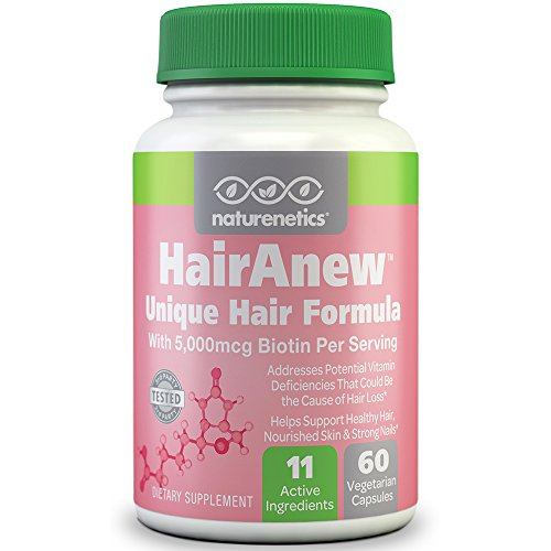 HairAnew Unique Hair Growth Vitamins With Biotin Tested For Hair Skin Nails Women Men Addresses Vitamin Deficiencies That Could Be The Cause Of Hair Loss Lack Of Regrowth 60 VCaps