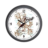 Wall Clock Faith Prayer Dove Christian Cross