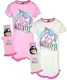 BFF & ME Girls Nightgown Pajama Set with Matching Doll Pajama (2 Pack), Unicorn, Size 10/12'