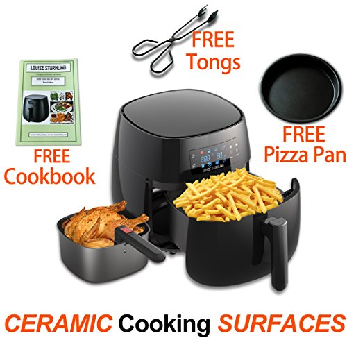 LOUISE STURHLING All-Natural Healthy Ceramic Coated 4.0L Air Fryer. BPA-FREE, PTFE & PFOA-FREE, 7-in-1 Pre-programmed One-touch Settings, Exclusive BONUS Items – FREE COOKBOOK, TONGS & PIZZA PAN