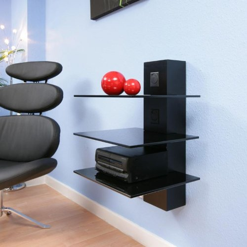 Hifi Stand Shelves Black Glass Cable Mgt Wall Mounted Modern Fascinating Floating Hi Fi Shelves