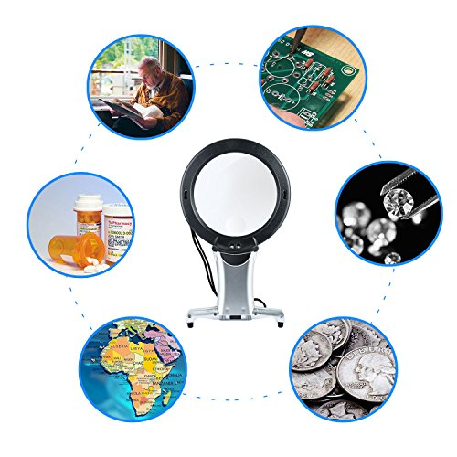 Reading Magnifier, Hands Free Neck Wear Handheld Large Lighted Magnifying Glass Desktop Magnifier with LED Light for Close Work, Reading, Sewing, Cross Stitch, Inspection, Repair, Crafts by oenbopo (Image #6)