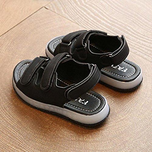 Transer Baby Sandalen, Jungen Mädchen LED Leuchtende PU Kleinkinder Kinder Turnschuhe Schwarz