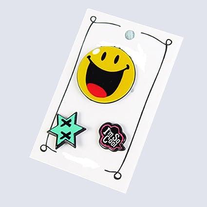 3 Pines esmaltados broche clip emoticono feliz para ...
