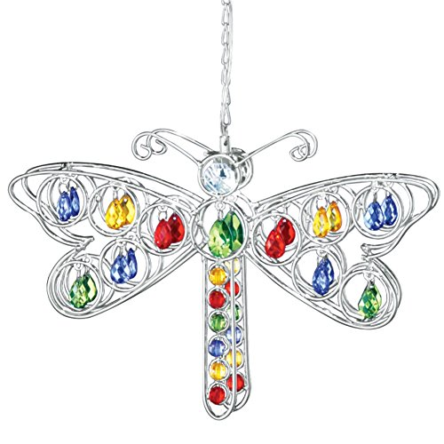 Solar Dragonfly Hanging Yard Decoration, Silver by Collections Etc