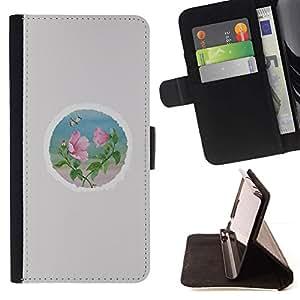 For Sony Xperia Z2 D6502 Case , Pétalo Ronda Minimalista Gris- la tarjeta de Crédito Slots PU Funda de cuero Monedero caso cubierta de piel