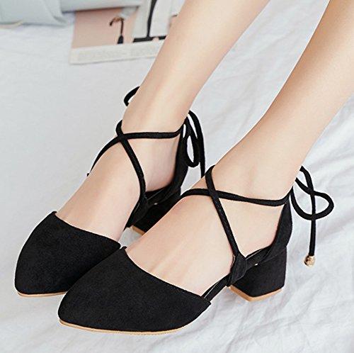 Aisun Womens Fashion Comfy Round Toe Strappy Gilly Tie Dressy Chunky Mid Heel DOrsay Sandals Black hyHmG