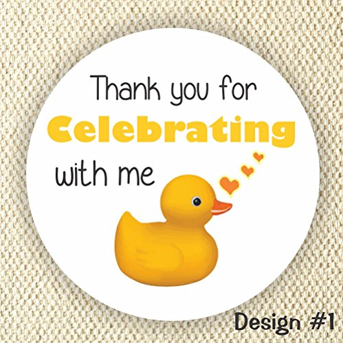 Rubber Duck Favor Stickers - Neutral Gender Baby Shower Stickers - Rubber Duck Favor stickers- Thank you for Celebrating with me