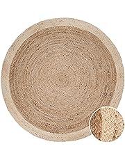 Vloerkleed Rond Woonkamer Jute Boho Ethno Handgemaakt Natuurlijk Vloerkleed, Maat:Ø 160 cm rondje, Kleur:Ivoor