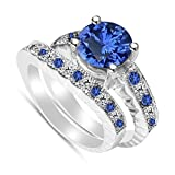 TVS-JEWELS 2 Carat White Cubic Zirconia & Blue Sapphire Engagement Wedding Solitaire With Accents Ring Set in Platinum Plated .925 Silver (7)
