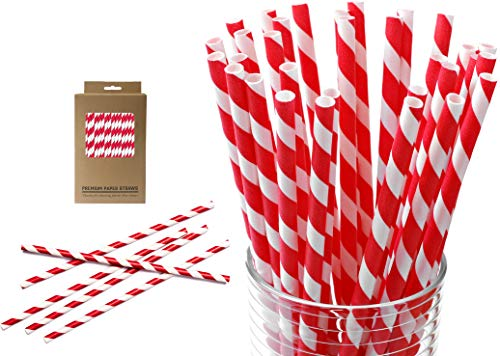 Heavy Duty Paper Straws - 200 Bulk Red and White Striped Paper Straws - Extra Thick - Biodegradable - Eco Friendly - Recyclable - Large XL 7.75