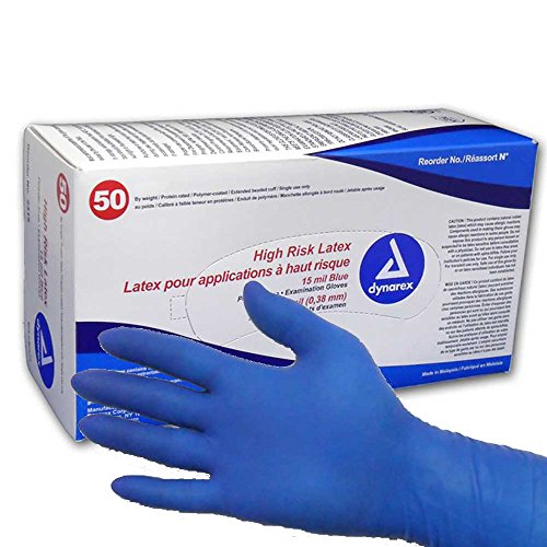Dynarex High Risk Latex Exam Gloves, Blue 15 mil, XL, Case/500 (10 Boxes of 50) by Dynarex