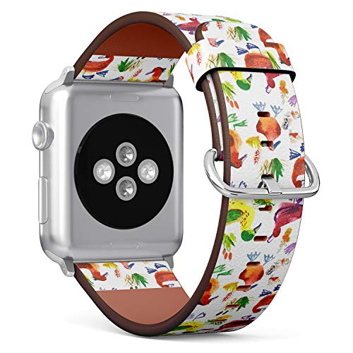 Compatible with Apple Watch (Small 38mm/40mm) Series 1,2,3,4 - Leather Band Bracelet Strap Wristband Replacement - Watercolor Ducks Floral