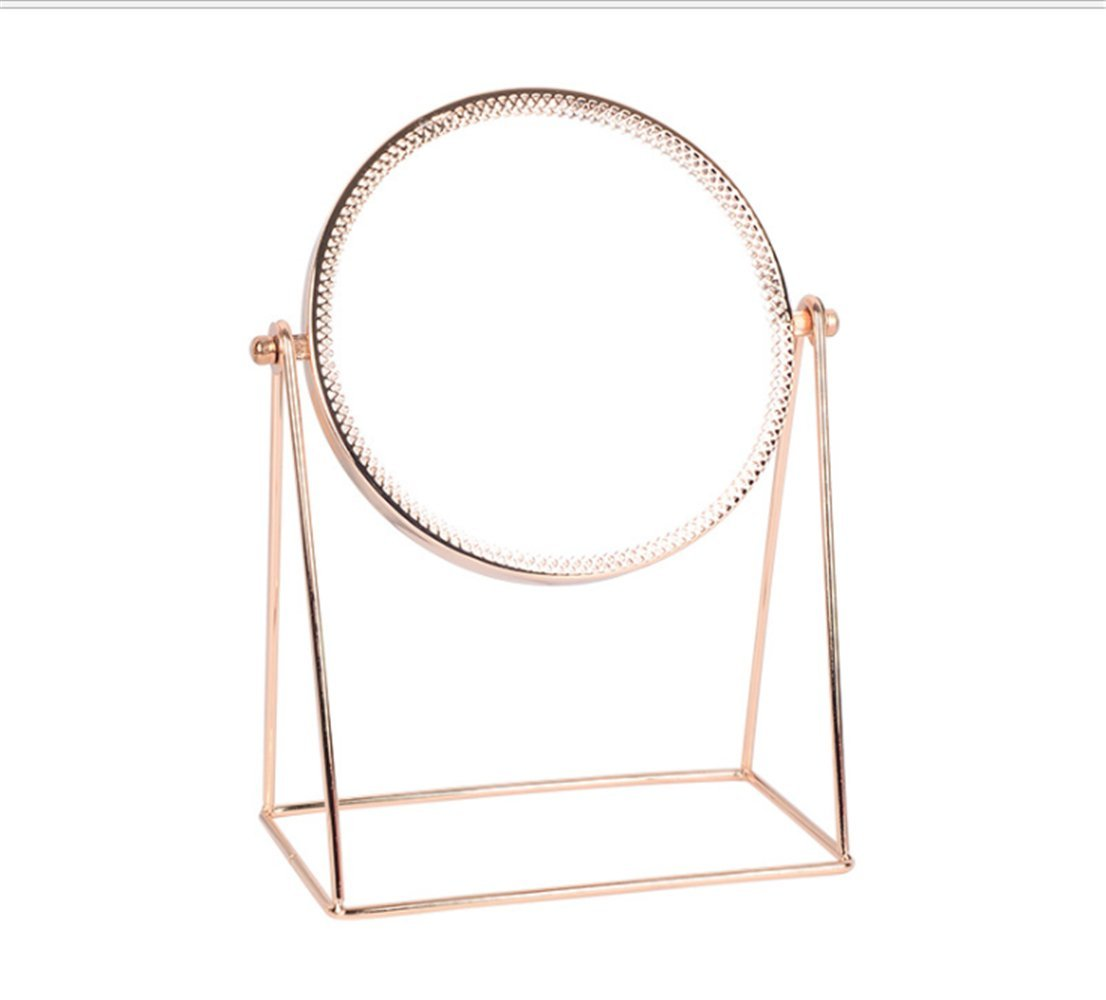 E-forest hair Makeup Mirror,Metal Rose Gold Single Make-up Mirror,Vanity Mirror Decorative Mirrors Perfect for Dressing Table(Rose Gold) (Round mirror)