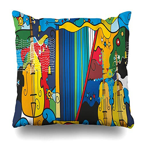 Ahawoso Throw Pillow Cover Square 20x20 Trumpet Accordion Double Bass Harp Cello Graphic Stylistics Painting Drum Guitar Modern Modernism Violin Zippered Cushion Pillow Case Home Decor Pillowcase