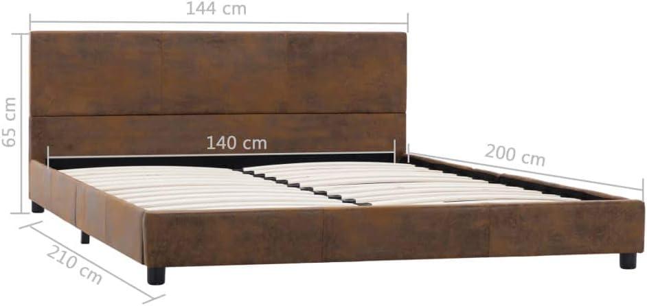 Tidyard Cadre de Lit en Similicuir Daim Solide et Durable Design El/égant Marron 100 x 200 cm Matelas Non Inclus