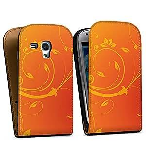 Diseño para Samsung Galaxy S3 Mini I8190 DesignTasche Downflip black - Sonnenfarbene Ornamente