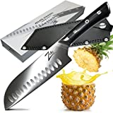 ZELITE INFINITY Santoku Knife 7 Inch >> Razor-Edge Series >> Best Quality Japanese AUS8 High Carbon Stainless Steel, Black Pakkawood Handle, Full-tang, Deep Chefs Blade, Ultra-Premium Leather Sheath