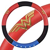 wheel cover for women - BDK Wonder Woman Steering Wheel Cover - Synthetic Leather - Stars & Gold Logo