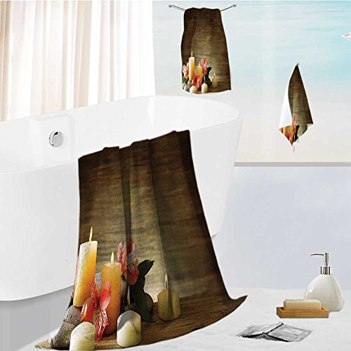 Miki Da toddler bath towel set Composition with Many Candles Wellbeing Unity and Neutrality Icons Happiness Ultra Softness & Absorbency ()