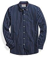 Goodthreads Men's Standard-Fit Long-Sleeve Stripe Chambray Shirt, Medium