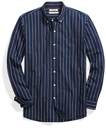 Goodthreads Men's Standard-Fit Long-Sleeve Pattern Chambray Shirt, Stripe, X-Large