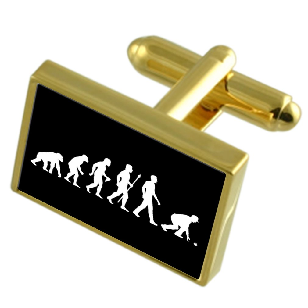 Select Gifts Evolution Ape to Man Bowls Gold-Tone Cufflinks Engraved Message Box