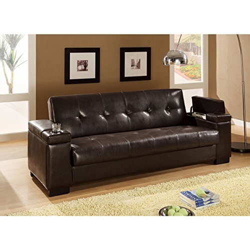 Coaster Brown Vinyl Sofa Bed | Cup Holders and Storage in Arm Rests - Transitional by CoasterProducts.