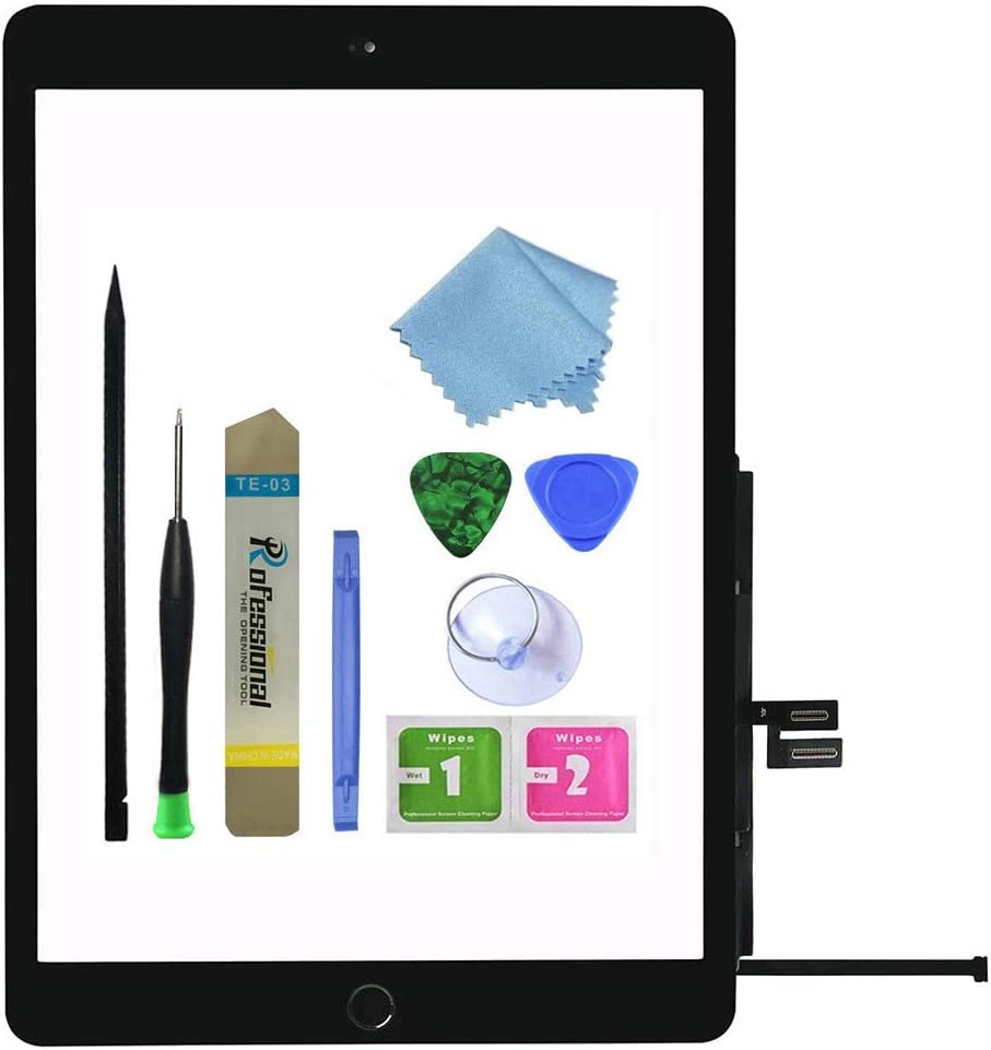 Zentop for Black iPad 7th Generation 2019 iPad 10.2 inch (A2197 A2198 A2200) Touch Screen Digitizer Assembly Replacement with Home Button, Camera Bracket, Pre-Installed Adhesive, Tool Repair Kit.
