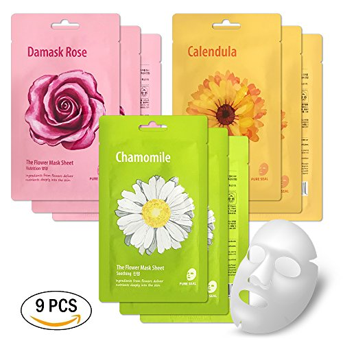 Face Mask Sheet by She's Lab - Set of 9 packs Korean Beauty Skin Natural Essential Full Facial Care Product Ingredients from Flowers for Nutrition, Soothing and Calming, Hydration …