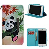 Leather Wallet Case for iPhone 6S/iPhone 6,Shinyzone Cute Cartoon Animal Panda Painted Pattern Flip Stand Case,Wristlet & Metal Magnetic Closure Protective Cover
