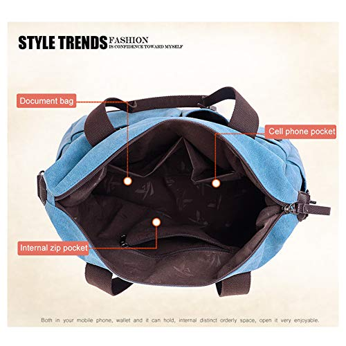para YooSJB197 de Sky Azul Mujer Bolso al Celeste Size caqui Yoome Beige One Lona Blue Hombro FwqdFp8