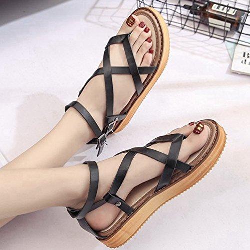 Femmes Criss Cross Strappy Plate-Forme Sandales Ouvert Orteil Réglable Boucle de Cheville Chaussures Sandales Noir ZV2Jlw
