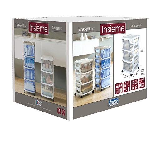 Bama Insieme Stackable 3 Drawer Chest, Silver, 36 x 40 x 62 cm by Bama (Image #2)