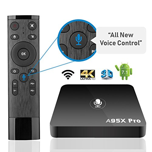 [2018 UPGRADED VERSION] SHOEKI A95X Pro TV Box with VOICE Remote Control Android 7.1 Amlogic S905W quad core 2G+16G Smooth and HD 4K Internet by SHOEKI