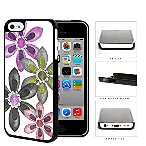 linJUN FENGGrunge Flower Sketch With Amethyst Stones Hard Plastic Snap On Cell Phone Case Apple iphone 4/4s