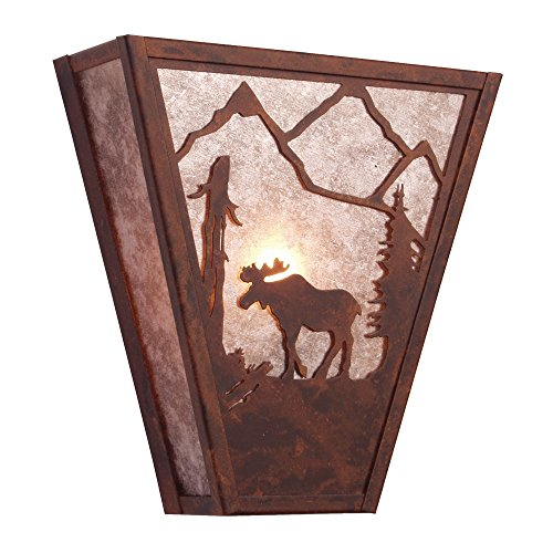 - Steel Partners Lighting 9455-MB-K Vegas Sconce - Moose with Mountain Brown Finish and Khaki Lens