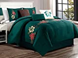 7-Pc Taye Tropic Floral Blossom Applique Embroidery Comforter Set Teal Green Burgundy Gold Ivory King