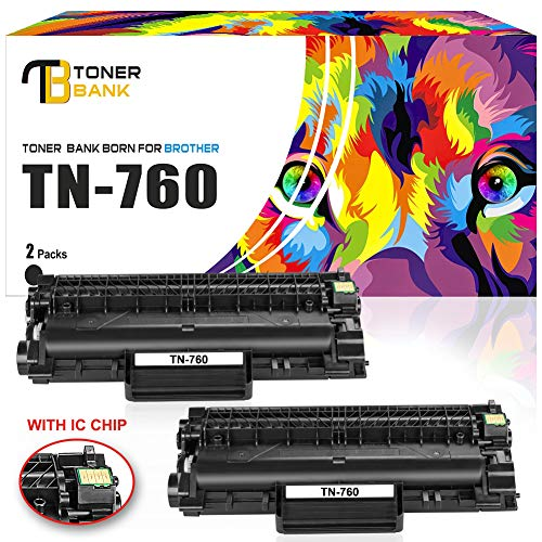 Toner Bank (WITH CHIP) 2Pack TN760 Compatible for Brother HLL2395DW HL-L2350DW TN760 TN-760 TN730 Toner Cartridge Brother HL-L2370DW HL-L2370DWXL HL-L2390DW DCPL2550DW MFCL2710DW MFCL2750DW MFCL2750DW