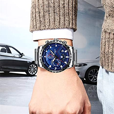 Amazon.com: NIBOSI Mens Watches Luxury Sports Chronograph Waterproof Military Quartz Stainless Steel Wristwatches Blue Color: Watches