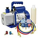 ZENY 4CFM Single-Stage 5 Pa Rotary Vane Economy Vacuum Pump 3 CFM 1/3HP Air Conditioner Refrigerant HVAC Air Tool R410a 1/4 Flare Inlet Port, Blue