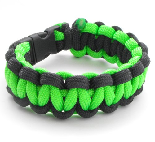 Penny Buckle - Children's / Youth 550lb Paracord Bracelet with Breakaway Plastic Buckle-19 Colors (Neon Green & Black, 5.5