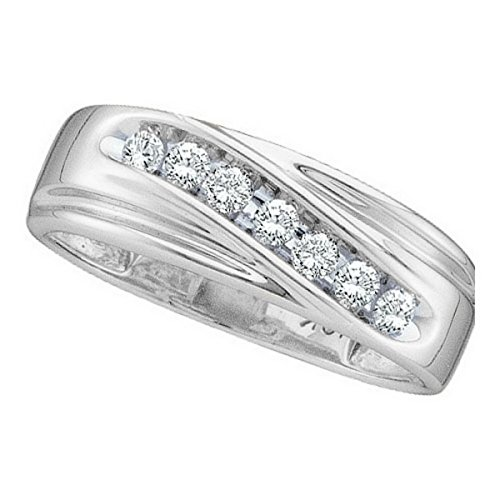 (Jewels By Lux 10kt White Gold Mens Round Channel-Set Diamond Single Row Wedding Band Ring 1/4 Cttw Ring Size 11)