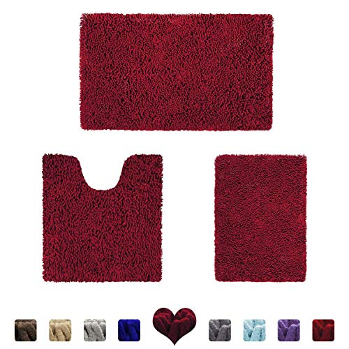 HOMEIDEAS 3 Pieces Bathroom Rugs Set Burgundy, Luxury Soft Chenille Bath Mats Set, Absorbent Shaggy Bath Rugs & Slip Resistant Plush Carpets Mats for Tub, Shower, Bathroom