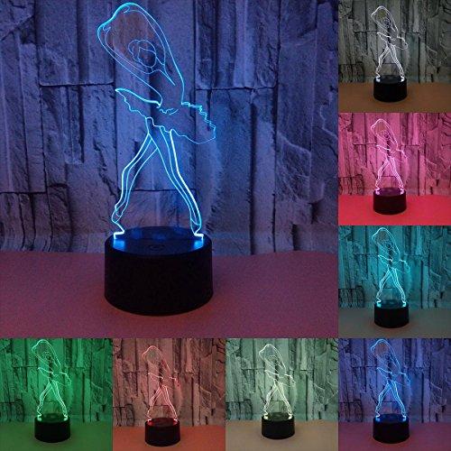 Julitech 3D creativo Visual lámpara LED 3W para niños Luces de la noche nuevo ballet 7 colores toque interruptor luces de...