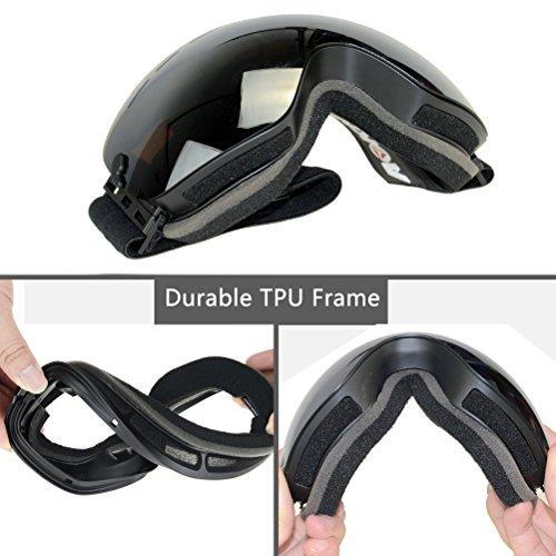 AOKNES Anti Fog Ski Snowboard Goggles with UV Protection, Spherical Dual Lens Design-Anti-Slip Detachable Tape